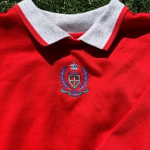 Red Collared Sweater with Embroidered Detail